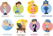 Cartoon characters manager, chef,policeman, waiter, singer, doctor — Stock Vector
