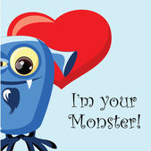 Valentine card with cute monster — Stock Vector