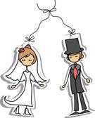 Cartoon bruiloft foto — Stockvector