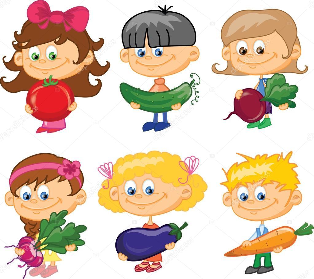 Bambini dei cartoni animati con verdure — vettoriali stock
