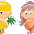 Stock Vector: Cartoon children with fruits and vegetables