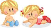 Baby boy and baby girl — Stock Vector