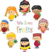 Crianças desenhos animados com frutas e legumes — Vetor de Stock