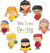 Cartoon children with fruits and vegetables — Stock Vector