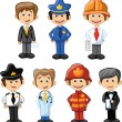 Cartoon characters manager, chef,policeman, waiter, singer, doctor - Stock Vector