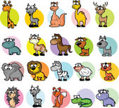 Set of cartoon animals, vector — ストックベクタ