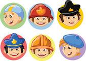 Cartoon characters swimmer, fireman,pilot, engineer,policeman, artist — Stock Vector