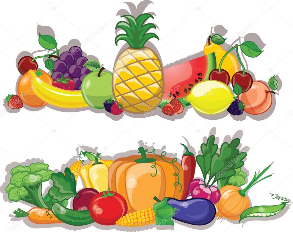 cartoon vegetables and fruits  background stock vector Vegetable Stand Clip Art fruit stand clipart