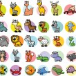 Set of cartoon animals, vector - Stock Vector