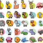 Set of cartoon animals, vector — Stock Vector