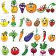 Stock Vector: Cartoon vegetables and fruits