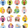 Cartoon characters manager, chef,policeman, waiter, singer, doctor — Vector de stock #24523519