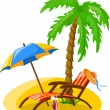 Travel icons, palm, ball, lounge, umbrella, flip-flops, flippers and suitcase - Stock Vector