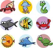 Conjunto de animales de la historieta, vector — Vector de stock
