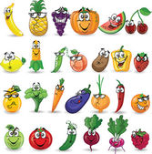 Cartoon groenten en fruit — Stockvector