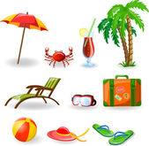 Travel icons, palm, ball, lounge, umbrella, flip-flops, flippers and suitcase — Stock Vector