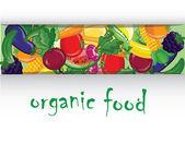 Cartoon legumes e frutas, de fundo vector — Vetor de Stock