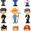 Cartoon characters manager, chef,policeman, waiter, singer, doctor and other — Imagens vectoriais em stock