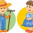 Cartoon character of cute farmer — Stock Vector
