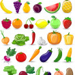 Vetorial Stock : Cartoon vegetables and fruits