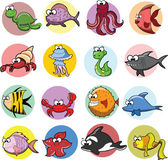 Set of cartoon fishes — Stock Vector