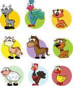 Set of cartoon vector farm animals — Stock Vector