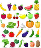 Cartoon vegetables and fruits — 图库矢量图片