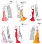 Set of fashion women in different countries — Stock Vector