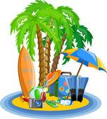 Pictogrammen, palm, bal, lounge, paraplu, slippers, flippers en koffer reizen — Stockvector