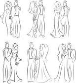 σιλουέτα του νύφη και γαμπρός, φόντο, προσκλητήριο γάμου, το διάνυσμα — Διανυσματικό Αρχείο