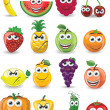 Stock Vector: Cartoon fruits with different emotions