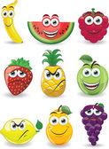 мультфильм фрукты с различными эмоциями — Cтоковый вектор