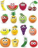 Cartoon fruits with different emotions — Stock Vector