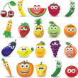 Cartoon fruits and vegetables with different emotions — Stock Vector #29793437