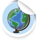 Sticker with cartoon globe — Stock Vector