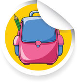 Sticker with cartoon school bag — Stock Vector