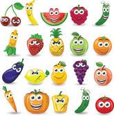 Cartoon fruits and vegetables with different emotions — Stock Vector