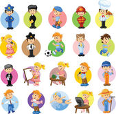 Cartoon characters of different professions — Stockvector