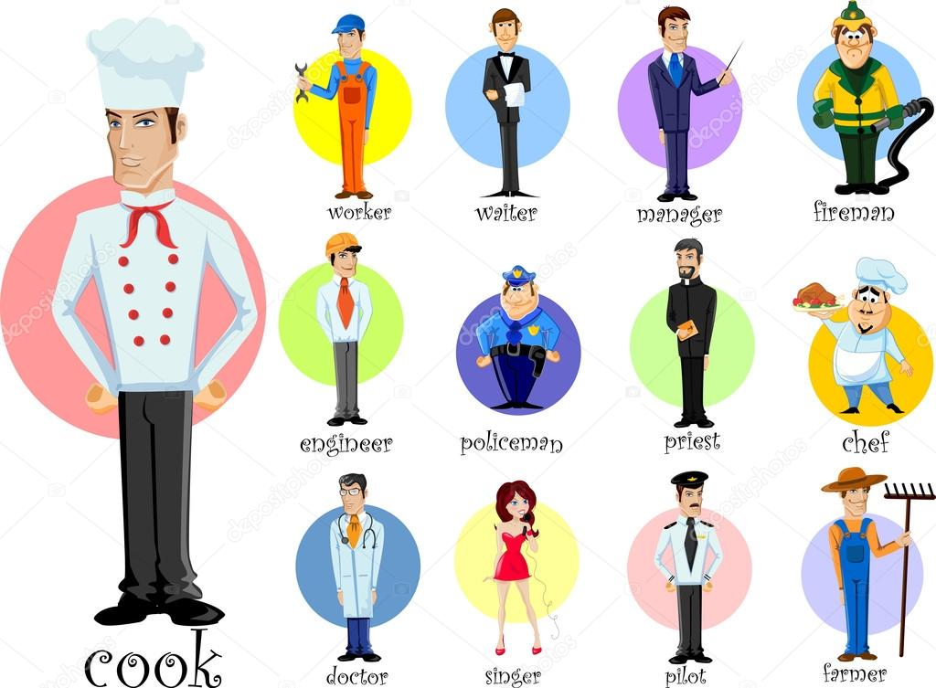 Cartoon characters of different professions stock illustration