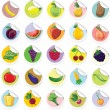 Stickers with cartoon fruits and vegetables — Stock Vector