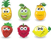Cartoon fruits with emotions — Stock Vector
