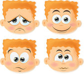 Cartoon boys with funny faces — Stock Vector