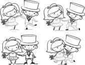 Мультипликационные свадебные картины — Cтоковый вектор