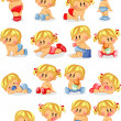 Baby boys and baby girls — Stock Vector #30816805