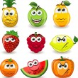 Stock Vector: Cartoon fruits with emotions