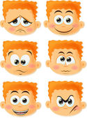 Cartoon funny boy set — Stock Vector