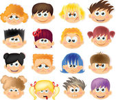 Cartoon funny kids with emotions — Stock Vector