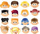 Niños divertidos dibujos animados con las emociones — Vector de stock