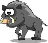 Cartoon wild boar — Stock Vector