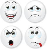 Cartoon faces with emotions — Vecteur